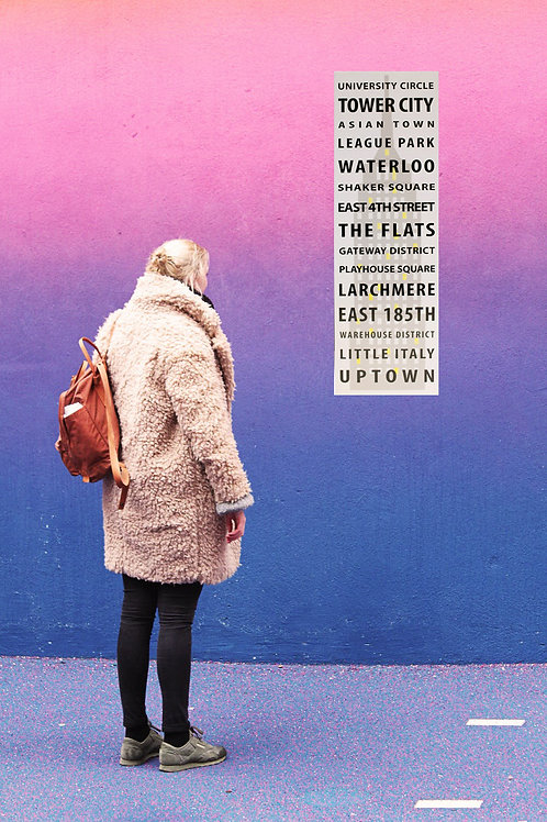 Cleveland Ohio Print - Neighborhoods - Subway Poster, Boyfriend Gift, Husband Gi