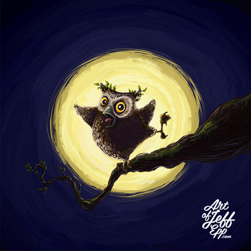 An owl hooting on a tree top.
