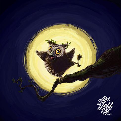 An owl hooting on a tree top.