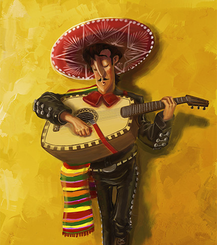 A guitarist with a Mexican inspired hat and blanket.