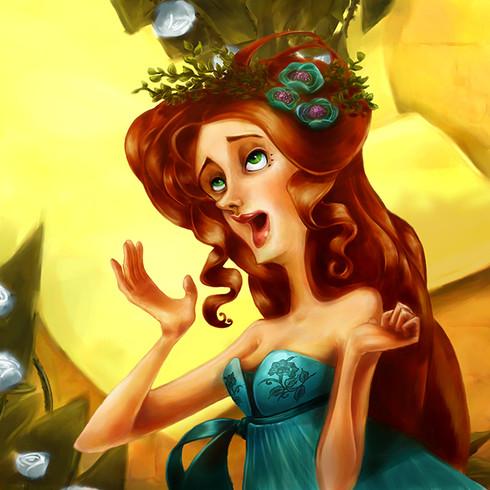 Alice from Alice in wonderland in a garden of white roses.