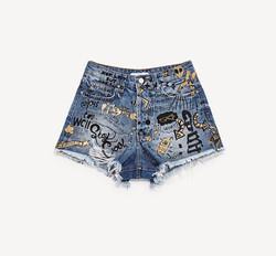 shorts denim stampato