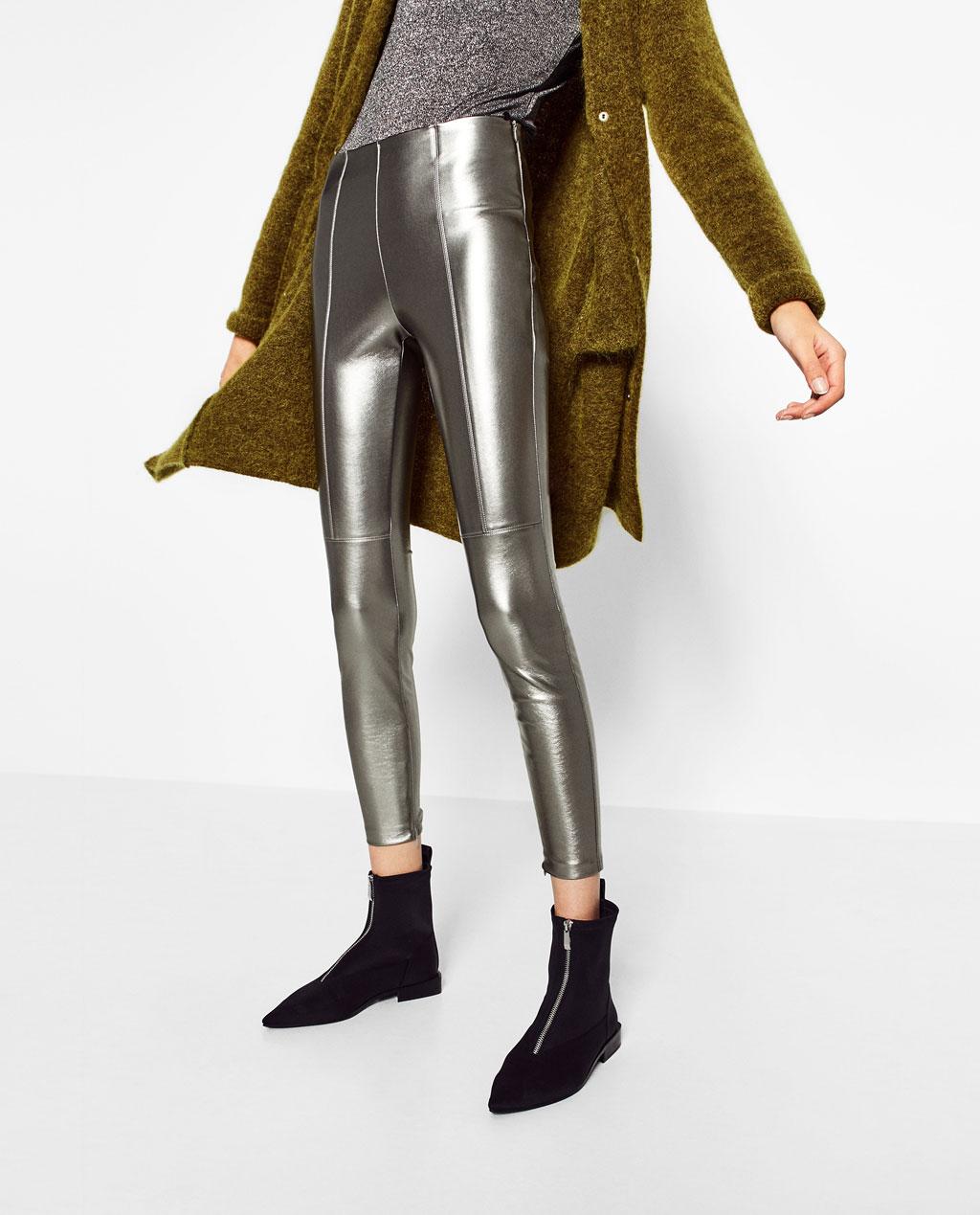 ZARA leggings argento