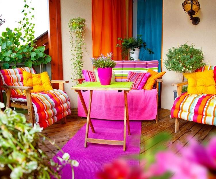 décoration balcon rose orange