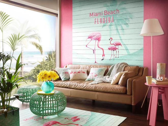 décoration salon floride rose