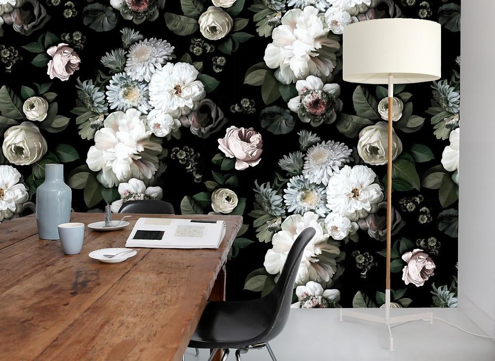 décoration salon papier peint fleurs