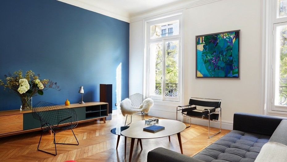 salon mur couleur bleu printemps