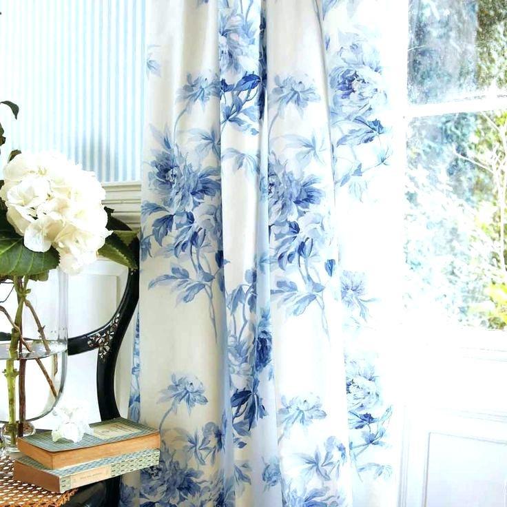 rideaux motifs fleurs bleues Lavaur