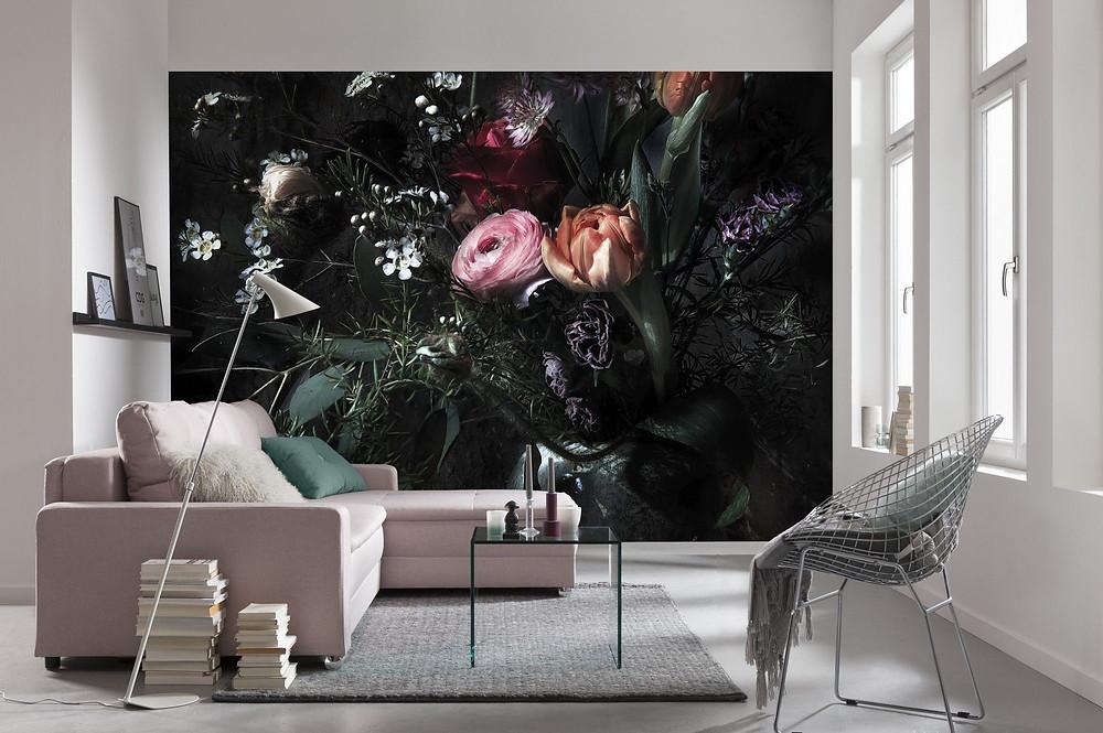papier peint mur fleurs salon canapé