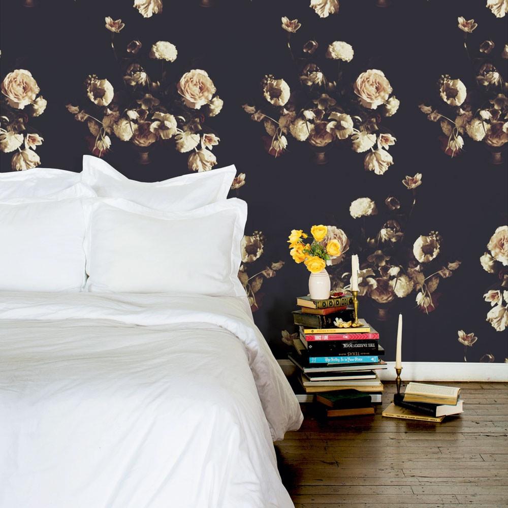 murs fleuris papier peint chambre