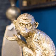 Décoration singe bronze
