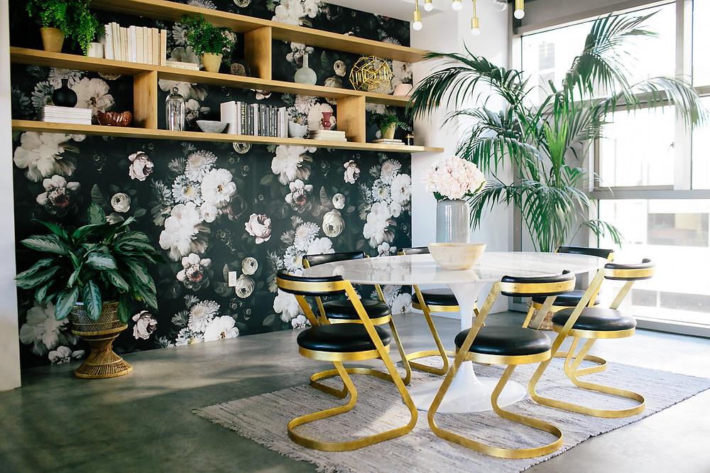 papier peint salon fleurs ambiance déco