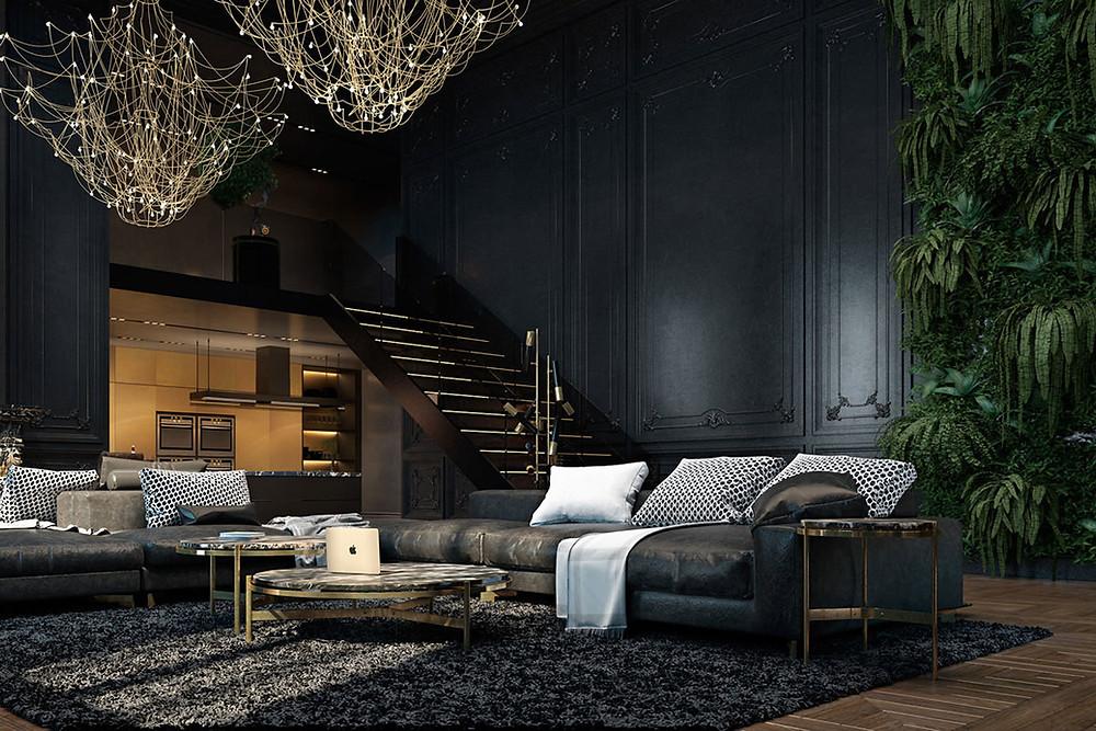 canapé design noir gris appartement parisien
