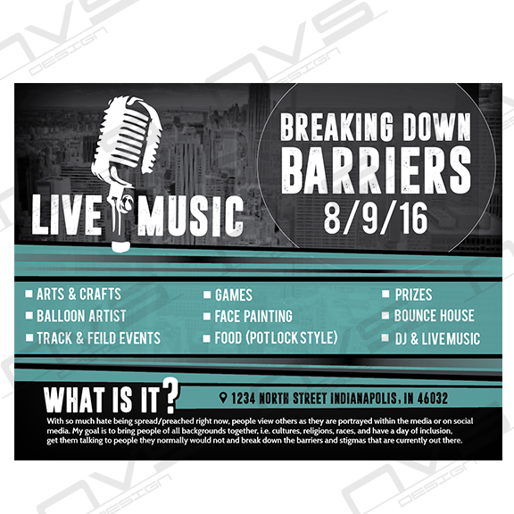 Breaking Down Barriers Music Flyer