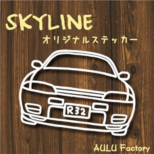手書き風 GTR R32 スカイライン オリジナル ステッカー