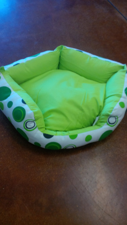Modern Fashion Print Dog Bed in Green/White