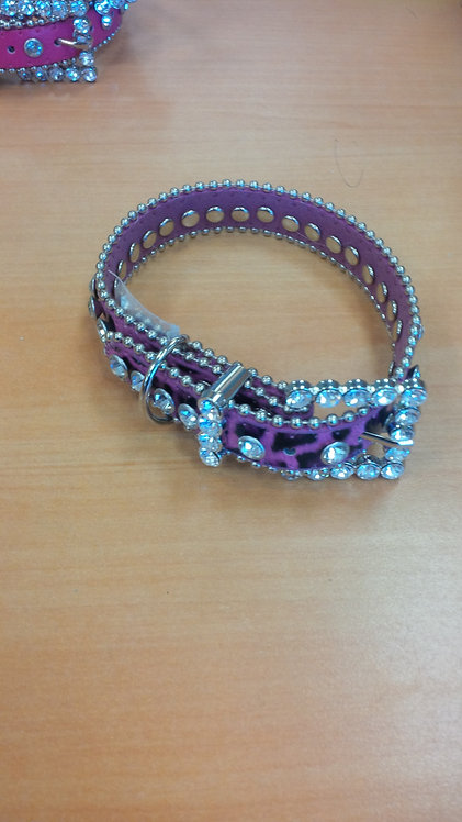 Hot Pink Leopard Print Bling Collar