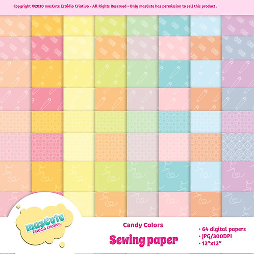 Papel digital costura candy color