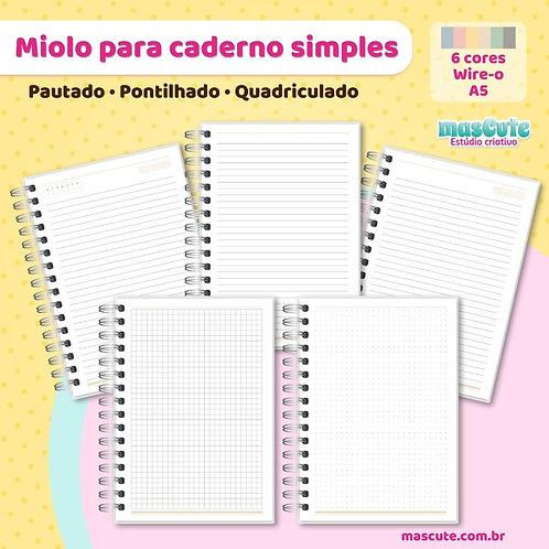 Miolo para caderno pautado, pontilhado, quadriculado-A5