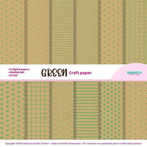 Papel digital textura de papel craft estampa em verde