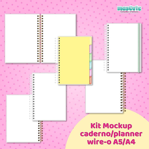 Kit Mockup planner/caderno wire-o A5/A4