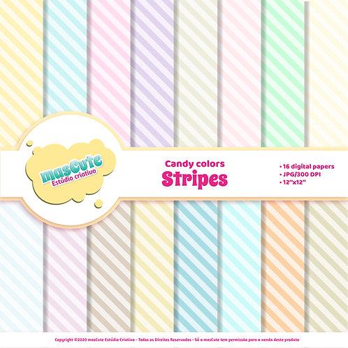 Papel digital stripes candy color