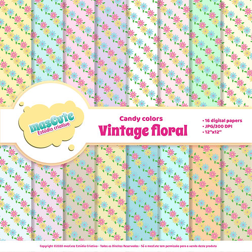Papel digital vintage floral candy color