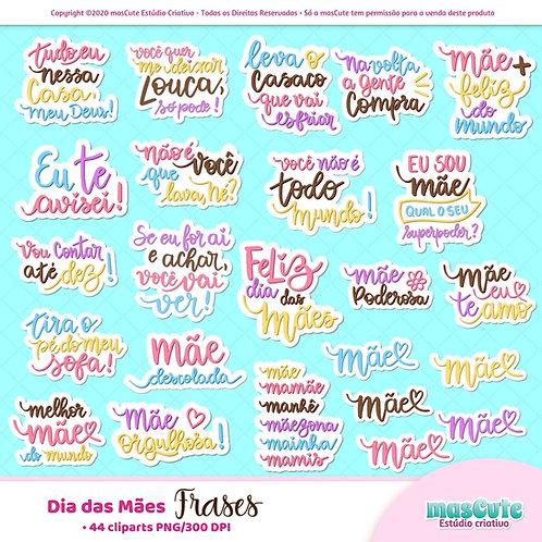 Dia das mães Frases  - Kit Digital Clipart