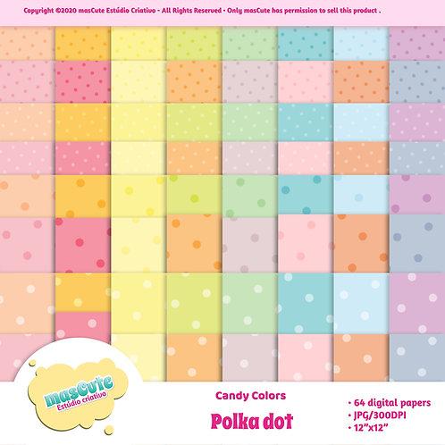 Papel digital Poá candy color