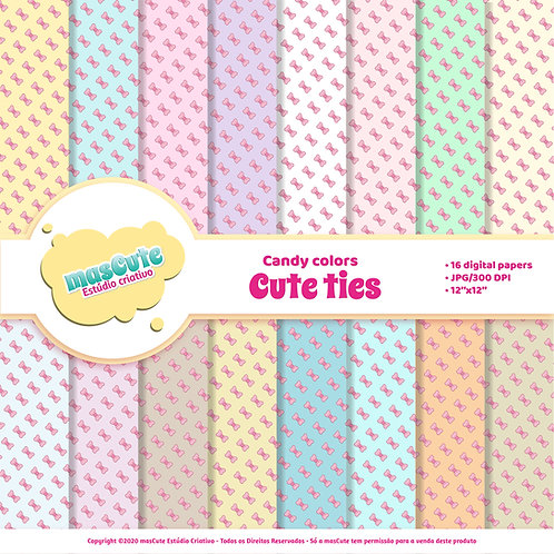 Papel digital cute ties candy color
