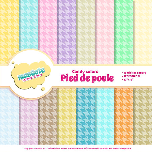 Papel digital pied de poule candy color
