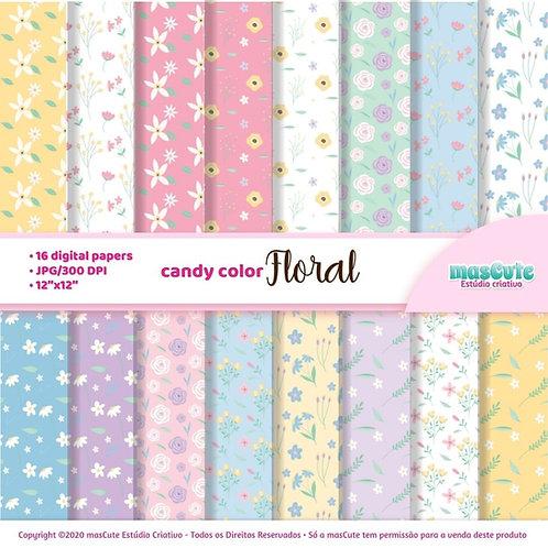 Papel digital candy color floral