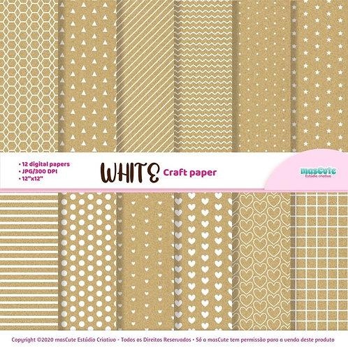 Papel digital textura de papel craft estampa em branco