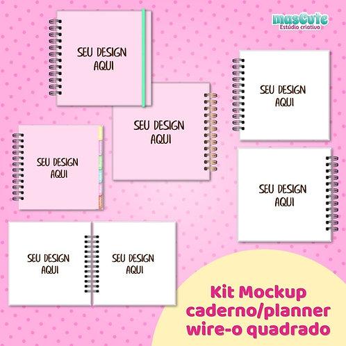 Kit Mockup planner/caderno wire-o quadrado