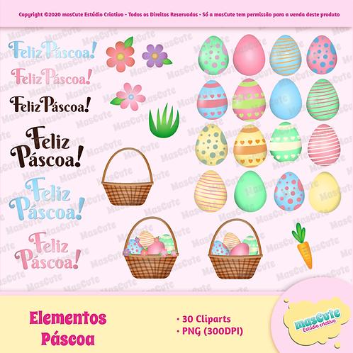 Elementos de páscoa - Kit Digital Cliparts
