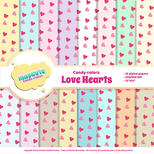 Papel digital love hearts candy color