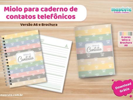 Miolo para caderno de contatos telefônicos – para Download grátis