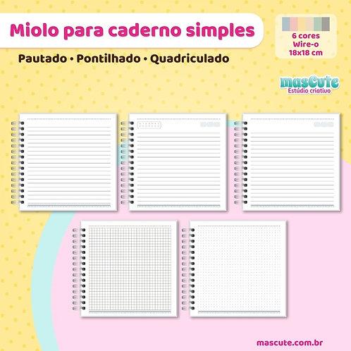 Miolo para caderno pautado, pontilhado, quadriculado   18x18 cm