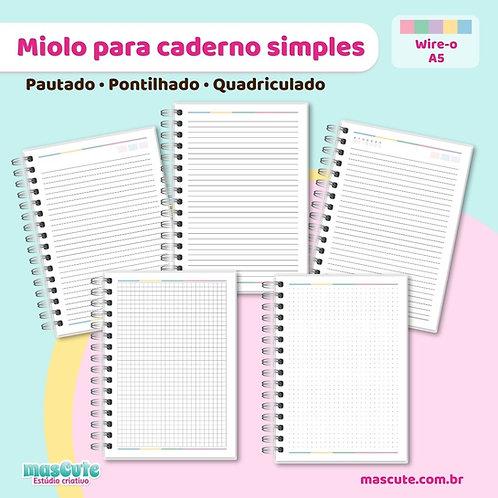 Miolo para caderno pautado, pontilhado, quadriculado   A5