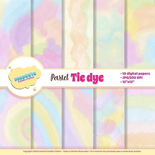 Papel digital Tie Dye cores pastel