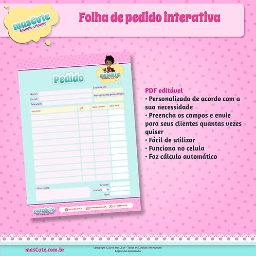 Folha de pedido interativa