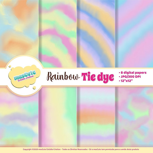 Papel digital Tie Dye arco-íris