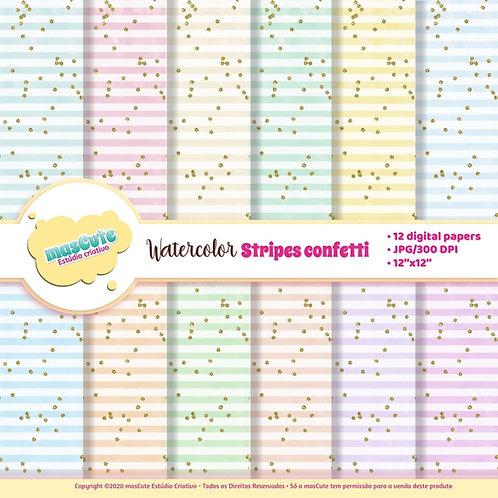 Papel digital listras confetti em aquarela 2