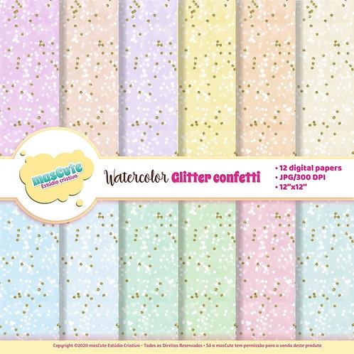 Papel digital glitter confettti em aquarela