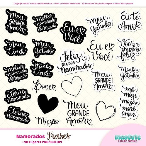 Dia dos Namorados Frases  - Kit Digital Clipart