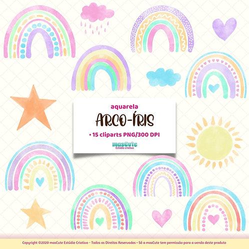 Arco-íris aquarela - Kit Digital Clipart