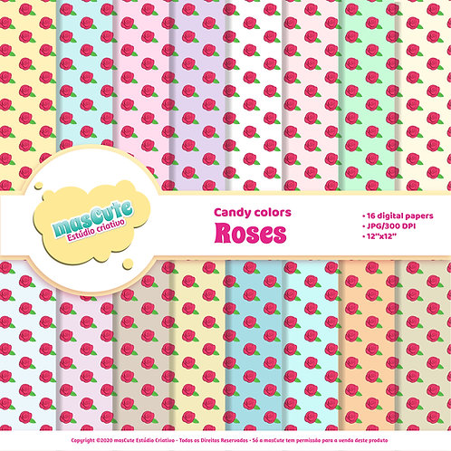Papel digital roses candy color