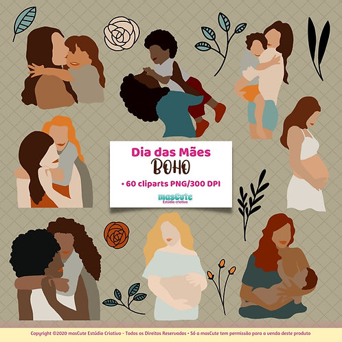 Dia das mães Boho  - Kit Digital Clipart