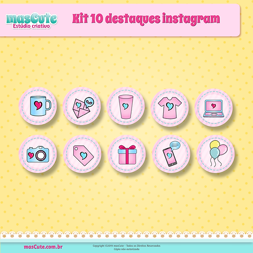 Kit 10 destaques instagram