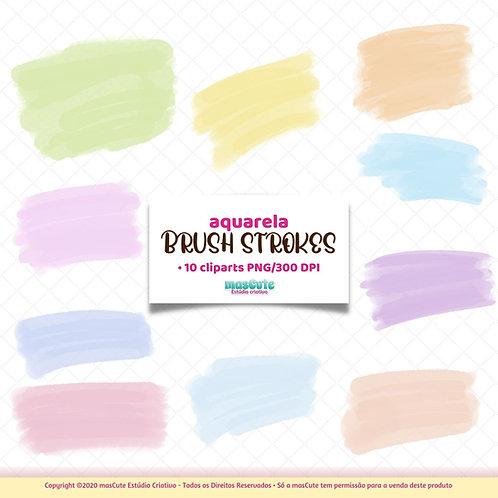 Pinceladas de aquarela  - Kit Digital Clipart